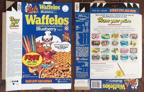 Vintage 1982 Blueberry Waffelos Cereal Box Pen Offer