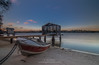 Maroochy River at sunset (greenfrogphotography@y7mail.com) Tags: boat boatshed water chain sand landscape long exposure sunset clouds stillness serenity outdoors maroochydore maroochyriver queensland australia