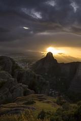 Dark Mood (doraartem) Tags: meteora greece landscape nature sunset sunrays dark rocks