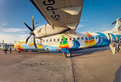 Colorful plane III (E.C.L.) Tags: bangkok airways krungthep thailand thai suvarnabhumi bkk sbia nbia airplane ramp flugzeug propeller gopro people