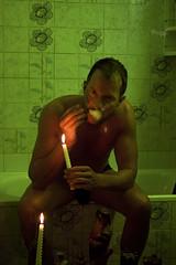 Jef in the Bathroom (tim_asato) Tags: shirtless man male men verde green pecs beard bathroom model muscle cigarette trails handsome hunk cigar pit modelo smoking trunk bathtub guapo baño hombre barba bicep candels bañera cigarro masculino heary timasato jeffagnard