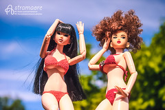 Nanami and Mikiko (astramaore) Tags: girls summer toy bride dramatic redhead curly end 16 brunette swimsuit 27 fashiondoll momoko obitsu