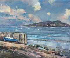 The Slip Lamlash (www.sandragraham.co.uk) Tags: sea seascape art painting boats island seaside artwork contemporary oil isle arran photostream lamlash