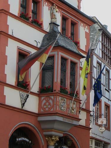 Oriel de l'Hôtel de Ville, Bernkastel, commune de Bernkastel-Kues, landkreis de Bernkastel-Wittlich, Rhénanie-Palatinat, Allemagne.