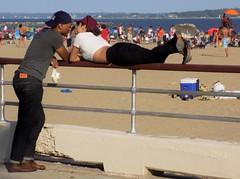 Love (KaDeWeGirl) Tags: newyorkcity summer people love couple bronx watching boardwalk orchardbeach