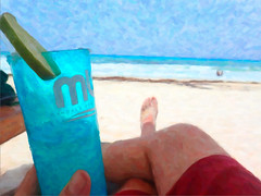 holidaze in the sun (JasonLee) Tags: ocean blue painterly mexico pov mandala chillin sunburn margarita cancun lime oceanview beachbum swimtrunks beachumbrella holidaysinthesun holidaysvacanzeurlaub imminentsunburn mandalacancun