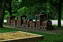 All aboard the Clinton River Express (SCOTTS WORLD) Tags: park trees usa art texture june digital america train fun woods midwest unitedstates angle pov michigan perspective panasonic adventure weathered waterford 248 2015