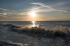 Waves breaking on Heacham Beach (David R Owen) Tags: sunset sea art beach 35mm nikon norfolk sigma heacham thewash hsm d810 14dg