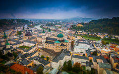 Salzburg on a rainy day (mendhak) Tags: old city blue salzburg clouds austria town österreich cityscape view cathedral dom shift rainy dome duomo tilt fortress festung sortof festunghohensalzburg tiltshift at