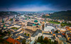 Salzburg on a rainy day (mendhak) Tags: austria blue cathedral city cityscape clouds dom dome duomo festung festunghohensalzburg fortress old rainy salzburg shift sortof tilt tiltshift town view österreich at wallpaper mendhakwallpaper