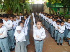 Pakistani School kids (Farooq Raz) Tags: morning school pakistan girl kids children uniform prayer young hijab ali national pakistani anthem quaid muhammad azam iqbal jinah allama