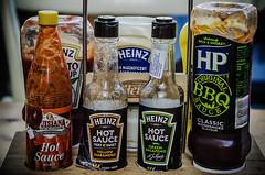 Heinz caddy (Melissa Maples) Tags: food turkey restaurant nikon asia text trkiye antalya labels condiments nikkor heinz vr sauces afs  18200mm  f3556g  18200mmf3556g d5100 burgersound