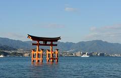 The Great Torii, Miyajima (Jez B) Tags: blue sky sun reflection water sunshine japan landscape great sunny hiroshima miyajima torii the