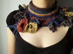 knitted scarflette with crochet flowers in mustard yellow, gray, persimmon, brown and indigo blue colors by irregular expressions (irregular expressions) Tags: brown scarf knitting crochet gray knit wearableart accessories persimmon knitted fiberart boho bohemian taupe textileart neckwarmer mustardyellow neckpiece neckwear indigoblue freeformcrochet scarflette freeformknitting irregularexpressions crochetscarflette knittedscarflette statementscarflette