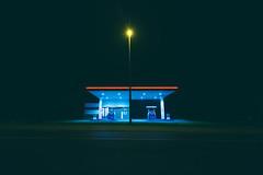 Gas station (rudolfvdv) Tags: gas station belgium tervuren tervueren night sky light longexpo longexposure road street city architecture symmetry