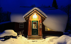 The Warmth Within (Note-ables by Lynn) Tags: cabin winter wolfdenhostelandretreat ontario ontariotourism warmth bluehour nightscene