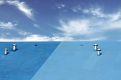 Blue roof, blue sky (Jan van der Wolf) Tags: map153135v wolken clouds sky blue roof house building gebouw geometry blauw ypenburg monochrome monochroom architecture architectuur