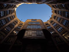 Casa Milà (Iain Husbands) Tags: omd casamilà gaudi em5 sunlight 2016 yellow shade barcelona
