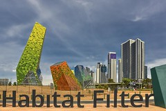 Habitat Filter (phunnyfotos) Tags: roadside phunnyfotos australia structure skyscrapers victoria vic melbourne southbank lettering font typography sign text colour color architecture building 2016 nikon d750 nikond750 citylink city cityscape environment habitatfilter landscape landscaping urbandesign freeway solar urban artinstallation roundabout