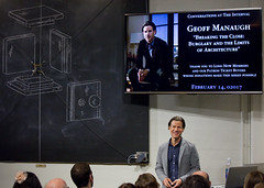 Geoff Manaugh at The Interval, February 02017 (Long Now) Tags: longnow longnowfoundation longtermthinking sf 02017 sanfrancisco theintervalatlongnow theinterval conversationsattheinterval events architecture books geoffmanaugh bldgblog cities otto chalkboard