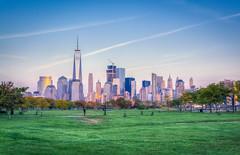 Downtown New York Skyline from Liberty State Park (Suraj Bajaj) Tags: newyork newyorkcity nyc ny usa newjersey jerseycity libertystatepark park sunset evening sky blue green downtown lowermanhattan manhattan worldtradecenter wtc