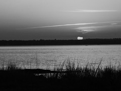 As Pure As The Sunlight (Lojones13) Tags: horizon sunlight sun morning outside sunrise blackandwhite shining water river daylight