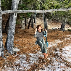 Zoe swings. The Quarries. Bruny Island.