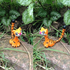 Orange & Black Kitty Cat (Midnight Hoots) Tags: fimo ornament home decor cats cat stripy cute handmade crafts craft art clay polymer items gifts for sale