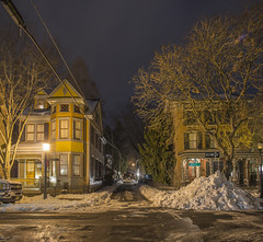 365-74 (• estatik •) Tags: 36574 365 74 march152017 31517 weds wednesday night long exposure panorama lambertville nj new jersey coryell george st street intersection historic homes houses ally alley snow lights dark darkness light hunterdon county