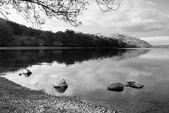 Sunset on Ullswater (B+W) (Benjamin Driver) Tags: ullswater landscape landscapes lee summer 2016 walking quiet water scape england eos60d eos raw lakedistrict lake black white blackandwhite waterscape rocks rock contrast reflection