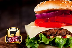 Hamburger with fries (restaurantlarome) Tags: food bread salad juicy potatoes message ketchup space tomatoes fastfood rustic banner tasty bbq meat gourmet onions delicious lettuce cheeseburger burnt fries american barbecue snack hamburger meal mustard chopped snacks copyspace grilled sesameseeds copy cuttingboard woodtable