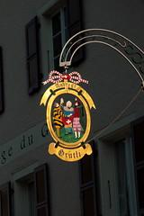 Wirtshausschild Auberge Grütli im Dorf Bonfol in der Ajoie im Kanton Jura der Schweiz (chrchr_75) Tags: chriguhurnibluemailch christoph hurni chrchr chrchr75 chrigu chriguhurni august 2015 albumzzz201508august schweiz suisse switzerland svizzera suissa swiss kantonjura kanton jura ajoie albumajoie bezirkpruntrut wirtshausschilder wirtshausschild schild albumwirtshausschilderschweiz sveitsi sviss スイス zwitserland sveits szwajcaria suíça suiza chrighurni