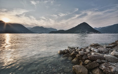 Lake Iseo Sunset (Gikon) Tags: sunset lake mountains water nikon rocks rays iseo sigma1020 d7100 gikon