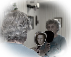 Forever Young (David T Green) Tags: old woman mirror women young reflction