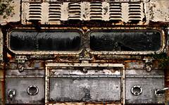 Redux (Junkstock) Tags: aged abandoned artifact artifacts altebenutztegegenstände bus citybus corrosion corroded decay distressed decayed dark darkness junk maine old oldstuff oldandbeautiful oldusedobjects patina paint peelingpaint kennebunkport relic rust rusty rustyandcrusty rusted textures texture transportation transport vintage weathered windows window