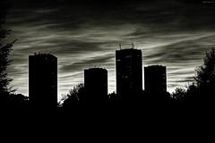 Glasgow High Rise (Billy McDonald) Tags: blackandwhite monochrome silhouette clouds shadows glasgow highrise viewpoint hdr multistory towerblocks balgrayhill