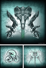 Aliens Film Art Series, Xenomoph Evolution Art Prints by Sherrie Thai (shaire productions) Tags: blue cinema green art film halloween nature monster illustration pen ink dark movie print poster death design artwork drawing mixedmedia picture surreal evolution aliens creation fantasy scifi horror demon series form macabre drawn creature biomechanical giger facehugger xenomorph chestburster shaireproductions gigerinspired