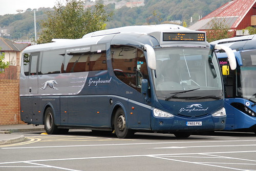 First Greyhound A Scania Iriza coach YN55PXL 'Billy Jean'.