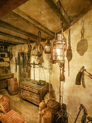 Historical (Steve Taylor (Photography)) Tags: wood old uk greatbritain light england brown london art texture lamp monochrome museum candle basket unitedkingdom antique chest barrel rope replica scales gb jar jug docklands balance wicker pulley drawers pully weighing museumoflondon monocolor monocolour