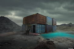 Boxes (Noro8) Tags: abandoned water photoshop dark out cool scenery mood sad place earth apocalypse style atmosphere doe processing brushes keep boxes containers barricade postapocalypse noro8