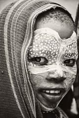 Suri Child, Kibish, Ethiopia (Rod Waddington) Tags: africa portrait blackandwhite monochrome face village child african painted traditional culture valle tribal valley afrika omovalley ethiopia tribe ethnic cultural ethnicity afrique ethiopian omo suri etiopia ethiopie etiopian kibish kibbish