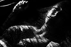 Pericardium (SkylerBrown) Tags: lighting blackandwhite woman sexy girl dark blackwhite pretty noir shadows boobs web gothic dramatic creepy fabric