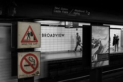Departing Broadview (itsonlykotsy) Tags: life city urban white toronto ontario canada black colour monochrome train subway ttc transit transporation selective