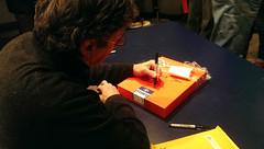 "PRC Lecture: Mike Mandel, signing ""Good 70s"" (PRCBoston) Tags: boston prc bostonuniversity smfa mikemandel photographicresourcecenter schoolofthemuseumoffineartsboston prclectures baseballphotographertradingcards"