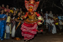 Slip Sliding, Goose Stepping Theyyam / God at Kannur in Kerala (Anoop Negi) Tags: theyyam kerala india kannur dance performance god trance festival recital ancient dark dancing dynamic photo photography anoop negi ezee123 religion hinduism body paint painting bodypainting bali baali vellatam