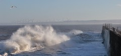 Wind Power .............. (nick.linda) Tags: roughseas highwaves hartlepoolheadland surf redcar windturbines edfenergy seawall seaspray danger canon600d canon1855lens