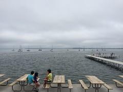 Cloudy day at the Terrace (ilamya) Tags: madison wisconsin memorialunion terrace picnictable pier boats sailboat fog weather cloudy lake mendota lakemendota