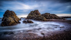 Shores Aglow (Augmented Reality Images (Getty Contributor)) Tags: afternoon canon clouds coastline cullen landscape leefilters longexposure morayshire rocks scotland seascape sunlight water waves