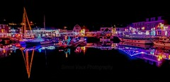 Padstow harbour at Christmas (EXPLORE 31 12 16 #93) (simonvaux1) Tags: padstow cornwall harbour lights christmas night dark cold winter celebrations black skies holiday new year 2017 simon vaux photography