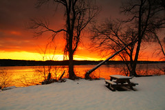 Happy bench Monday (melliottohaire) Tags: hbm sunrise hudsonriver dutchess ulster winter